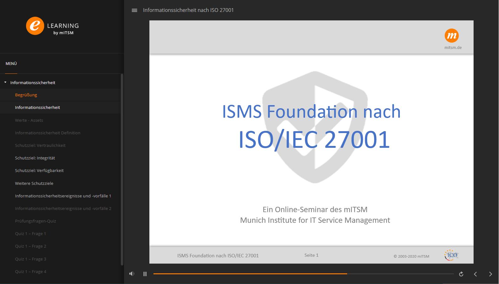 Link zum E-Learning-Modul ISO 27001 Foundation